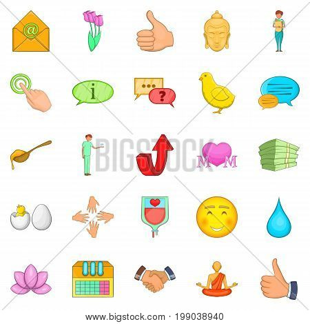 Graciousness icons set. Cartoon set of 25 graciousness vector icons for web isolated on white background