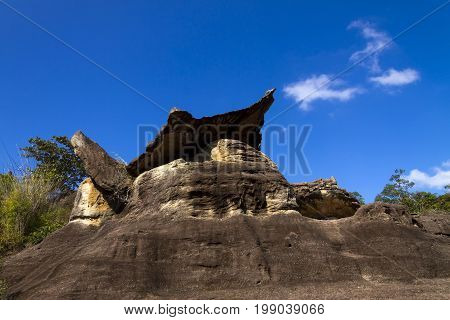 Stone forest beauty and blue sky at Phu Pha thoep National Park Mukdahan county of Thailand
