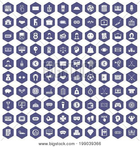 100 sweepstakes icons set in purple hexagon isolated vector illustration