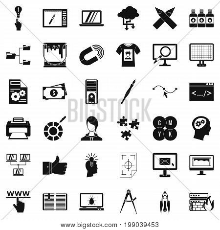 Web management icons set. Simple style of 36 web management vector icons for web isolated on white background