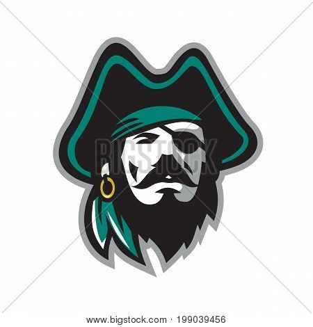 Illustration of a Pirate Wearing Eye Patch earring and Tricorn Hat viewed from Front on isolated background.