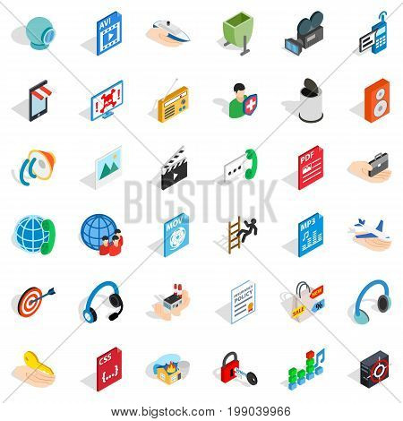 Web management icons set. Isometric style of 36 web management vector icons for web isolated on white background