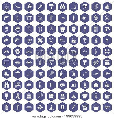 100 tackle icons set in purple hexagon isolated vector illustration