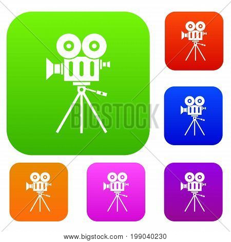 Camcorder set icon in different colors isolated vector illustration. Premium collection
