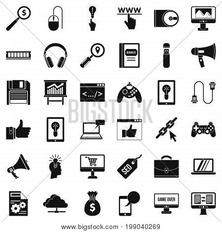 Web diagram icons set. Simple style of 36 web diagram vector icons for web isolated on white background