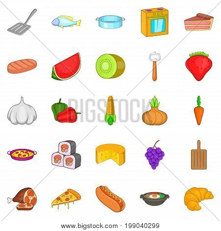Galley icons set. Cartoon set of 25 galley vector icons for web isolated on white background