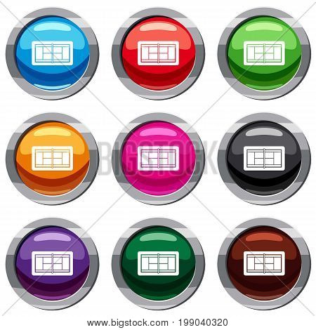 Tennis court set icon isolated on white. 9 icon collection vector illustration