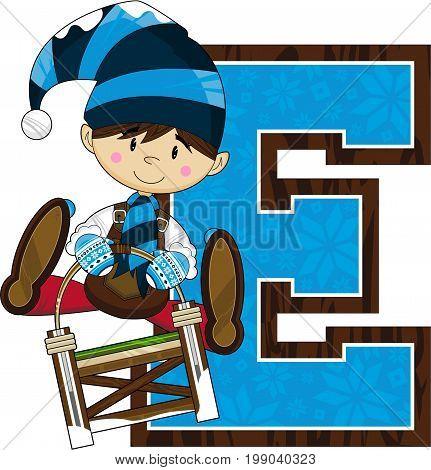 E is for Elf - Christmas Elf Alphabet Learning Illustration