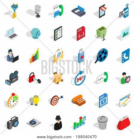 Web file icons set. Isometric style of 36 web file vector icons for web isolated on white background