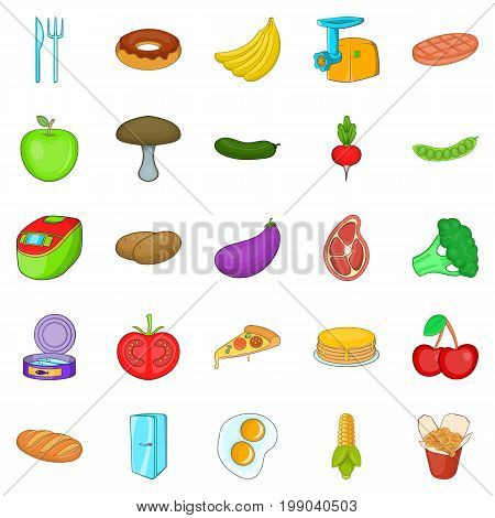 Cuisine icons set. Cartoon set of 25 cuisine vector icons for web isolated on white background