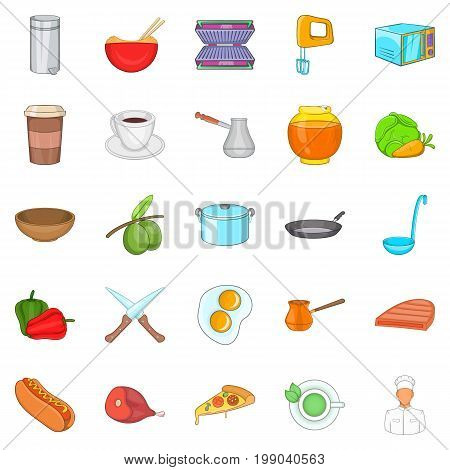 Cook room icons set. Cartoon set of 25 cook room vector icons for web isolated on white background