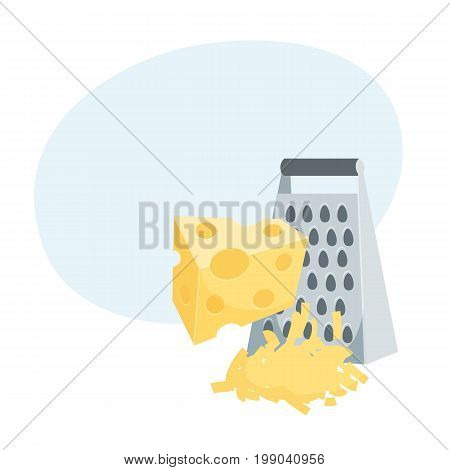 Grated cheese. Cooking process vector illustration. Kitchenware and cooking utensils isolated on white.