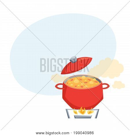 Boil soup in pot on stove. Cooking process vector illustration. Kitchenware and cooking utensils isolated on white. Vegatables dish