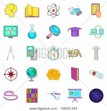 Getting knowledge icons set. Cartoon set of 25 getting knowledge vector icons for web isolated on white background