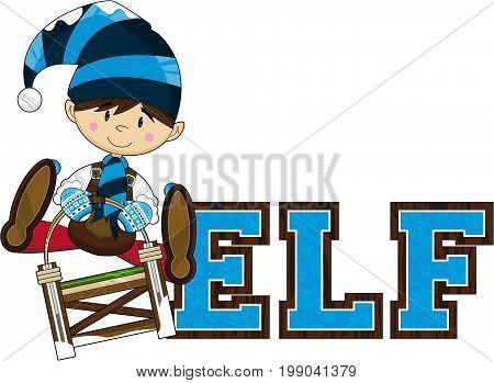 Cute Cartoon Fantasy Christmas Elf on Sledge