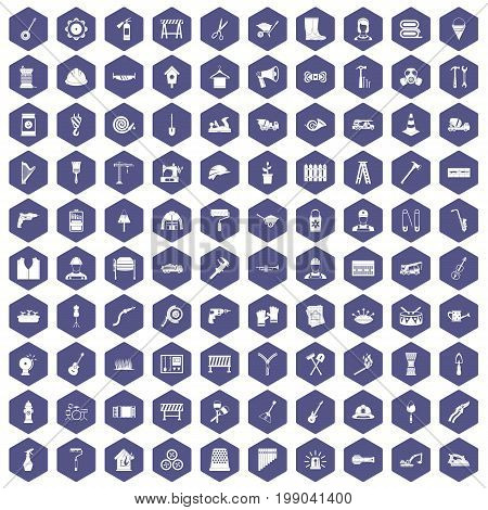 100 tools icons set in purple hexagon isolated vector illustration