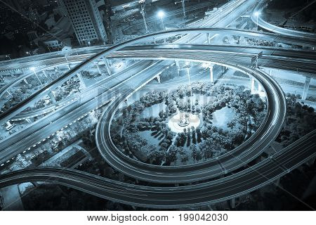 Aerial view at City viaduct bridge road of night scene.