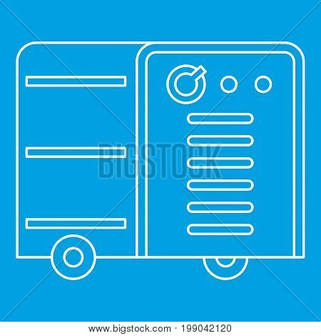 Welding machine icon blue outline style isolated vector illustration. Thin line sign