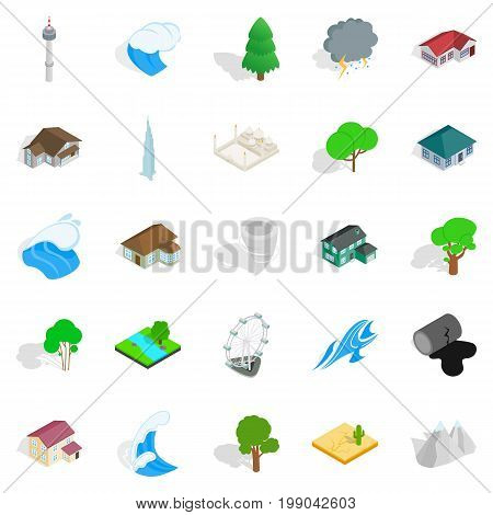 Terra icons set. Isometric set of 25 terra vector icons for web isolated on white background poster