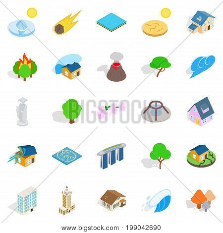 Land icons set. Isometric set of 25 land vector icons for web isolated on white background