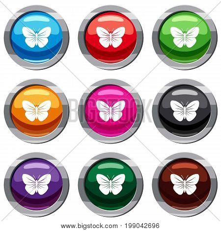 Black butterfly set icon isolated on white. 9 icon collection vector illustration