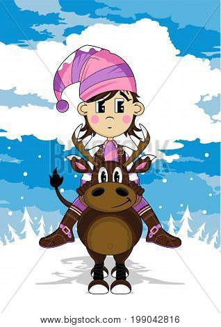 Elf & Reindeer Scene