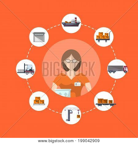 Logistics and worldwide shipping concept with service operator. Commercial air, road, marine and railway transportation banner. Freight shipping and cargo delivery, postal service vector illustration