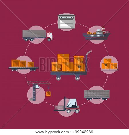 Worldwide commercial cargo shipping service. World freight shipping and cargo delivery, warehouse management, postal logistics vector illustration. Air, road, marine and railway transportation banner