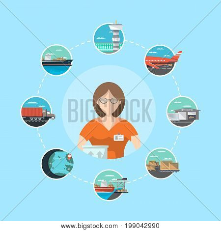 Logistic management concept with service operator. Commercial air, road, marine and railway transportation banner. Freight shipping and cargo delivery, postal service vector illustration