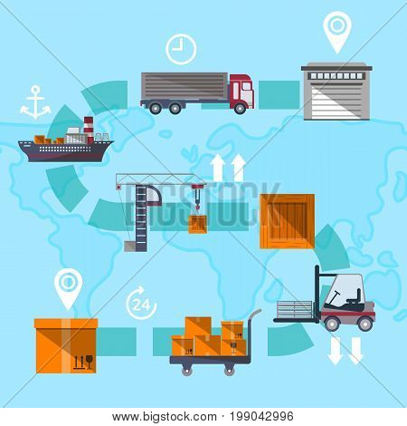 Logistic management concept with goods route. Worldwide commercial air, road, marine and railway transportation banner. Freight shipping and cargo delivery, postal service vector illustration