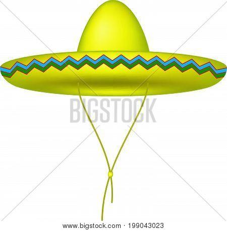 Sombrero hat in yellow design on white background