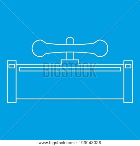 Pipe with water valve icon blue outline style isolated vector illustration. Thin line sign
