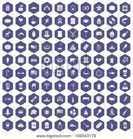 100 USA icons set in purple hexagon isolated vector illustration