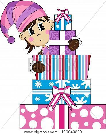 Cute Cartoon Fantasy Christmas Elf with Gifts
