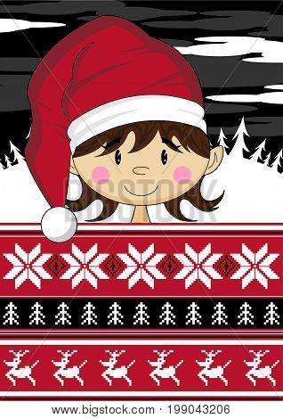 Cute Cartoon Fantasy Christmas Elf Vector Illustration