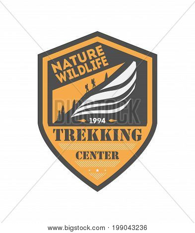 Trekking center vintage isolated badge. Summer camp symbol, mountain explorer, touristic camping label, nature expedition, wildlife travel vector illustration.