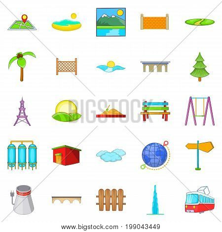 Scenery icons set. Cartoon set of 25 scenery vector icons for web isolated on white background