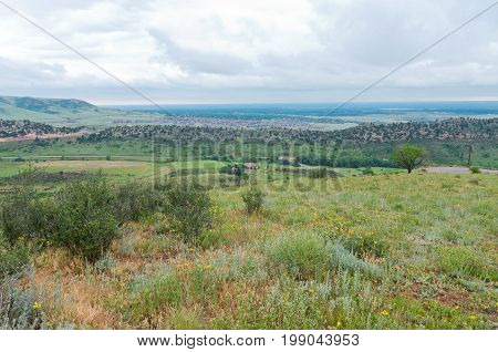 overlooking valley from red rocks park national historic landmark in jefferson county colorado