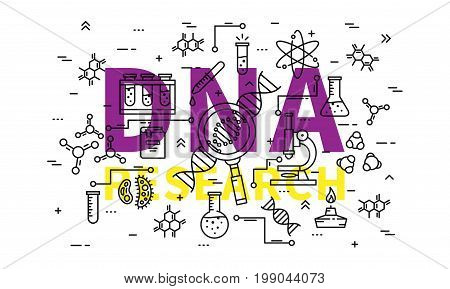 DNA research vector illustration. Genetic analysis line art concept. Biotechnology elements: microscope gene genome dna chain test-tube cell graphic design.