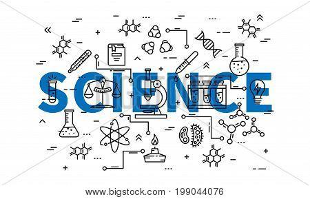Science line art vector illustration. Physics biology elements: dna chain molecule graphic design.