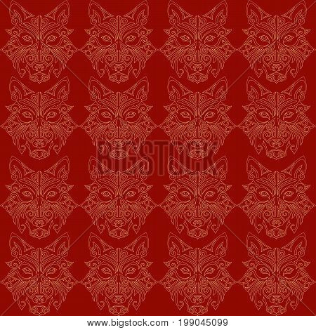 Seamless pattern with wolf or husky dog head stylized Maori face tattoo.  Symbol of 2018 year. Vector.