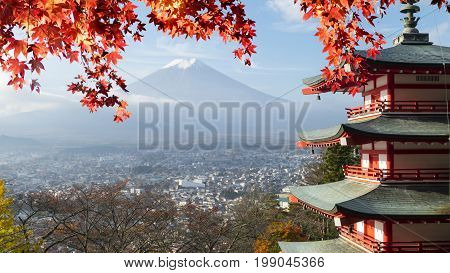 Imaging Of Mt. Fuji Autumn With Red Maple Leaves, Japan