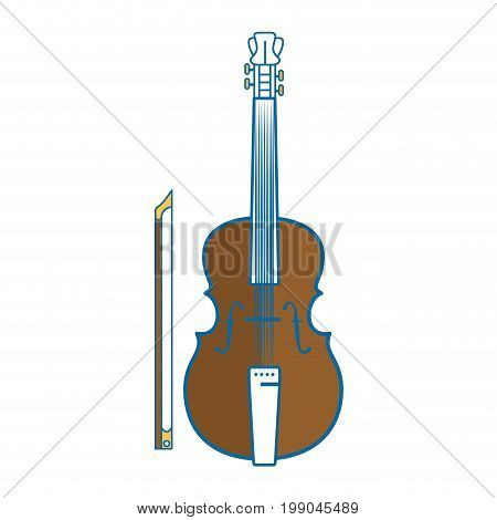 fiddle instrument icon over white background vector illustration