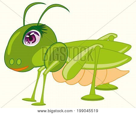 Cartoon of the grasshopper on white background is insulated