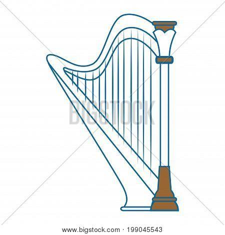 harp instrument icon over white background vector illustration