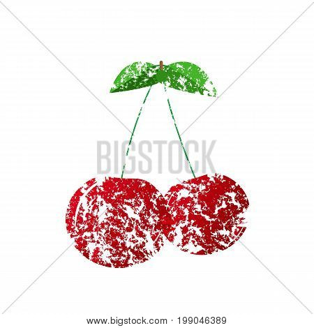Vector illustration. Isolated object. A red cherry painted with a brush.