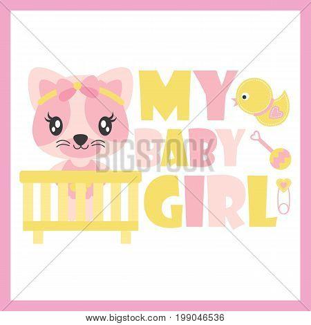 Cute baby kitten in baby cart vector cartoon illustration for baby shower card design, kid t shirt design, and wallpaper