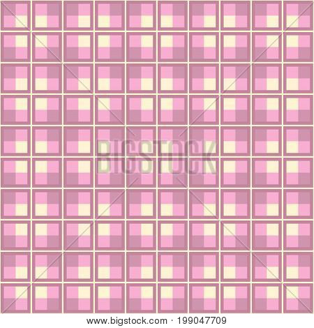 Pink Tartan Plaid Pattern Design. Vector image.