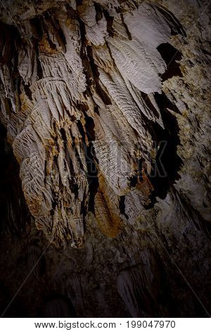 drapery on the ceiling of cave in Carlsbad Caverns National Park New Mexico