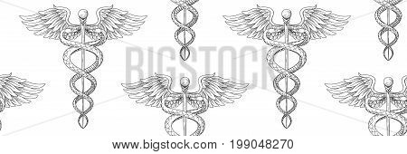Seamless pattern of Cadeus Medical medecine pharmacy doctor acient symbol. Vector hand drawn black linear tho snakes with wings sword background. Greek retro culture hospital old element. Tile print